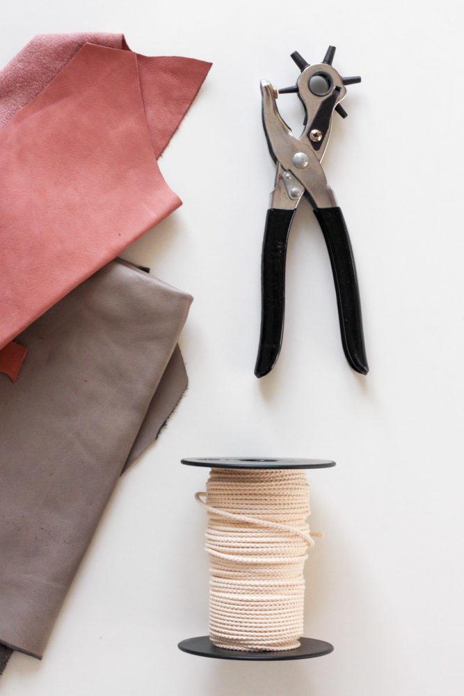 Tutoriel DIY suspension en cuir et macramé outils