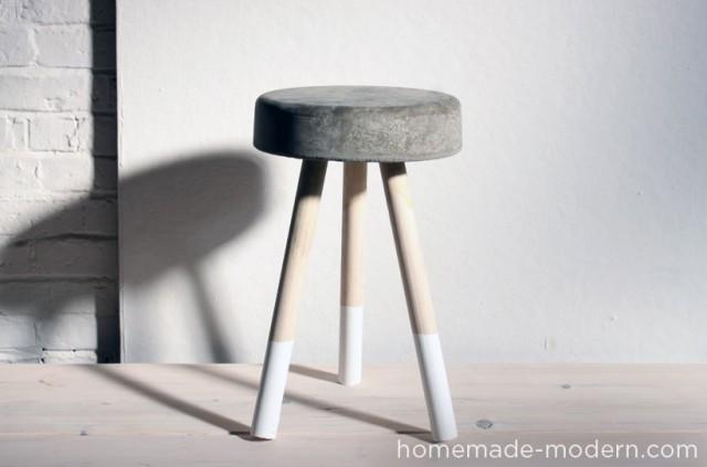 DIY ciment et bois tabouret